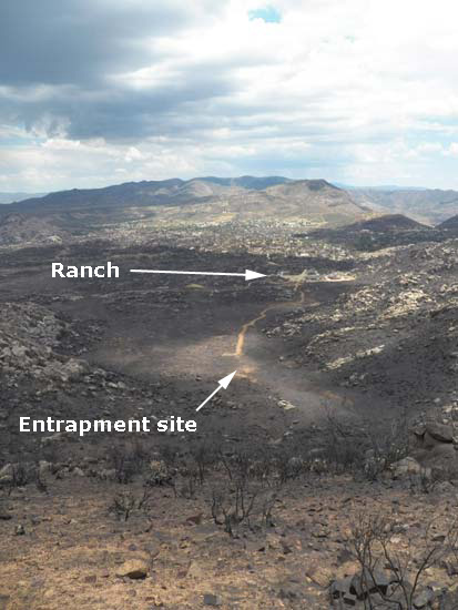 Yarnell Hill Fire Fatality Site, Photo by Joy Collura, labels by Wildfire Today
