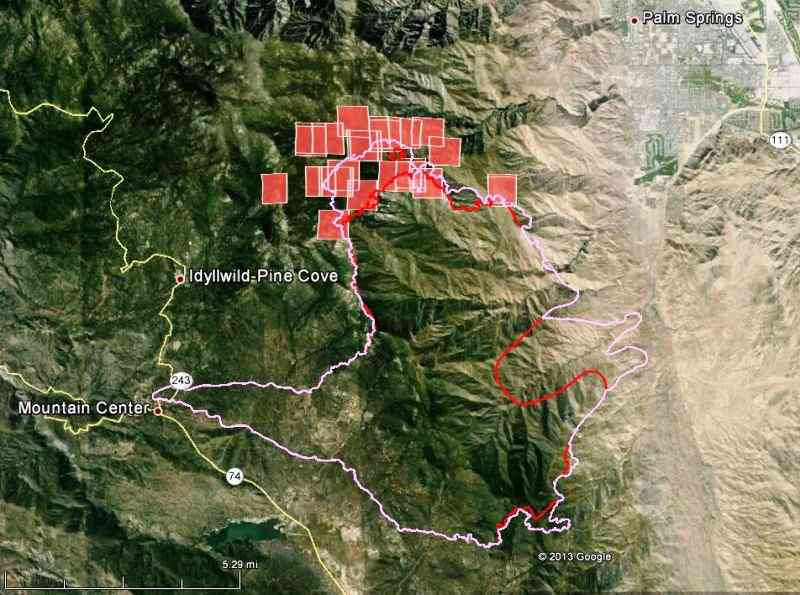 Map of Mountain fire July 19, 2013