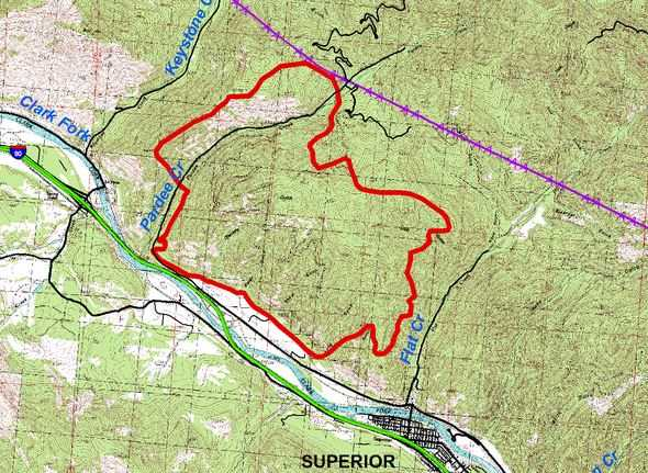 Map of West Mullan Fire, July 18, 2013