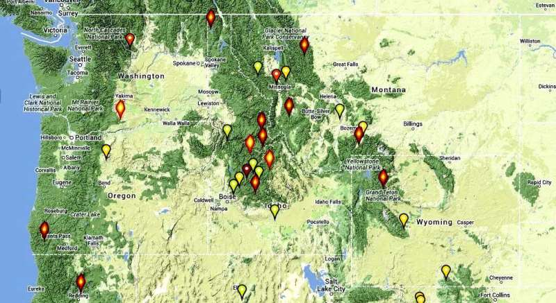 Map of wildfire in northwest, July 28, 2013