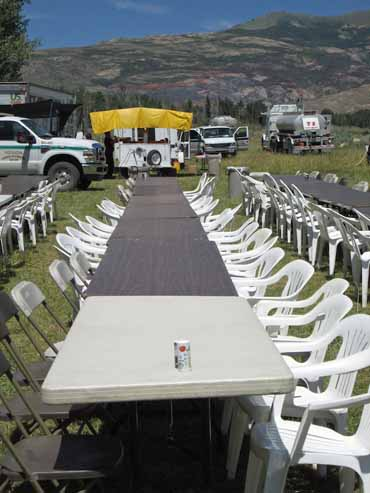 dining tables at Smith Ranch fire