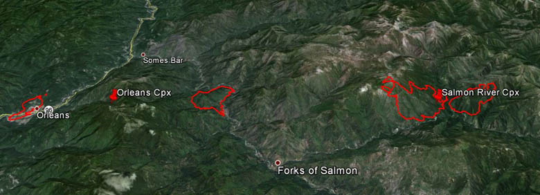 3-D Map of Salmon River and Orleans Complexes of fires August 3, 2013