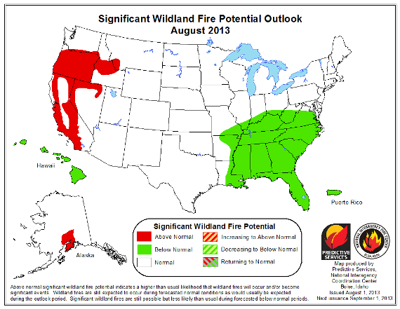 wildfire potential August, 2013