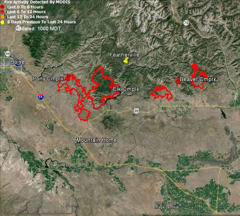 Map of Beaver, Pony, and Elk Complexes, 10 p.m. August 11, 2013