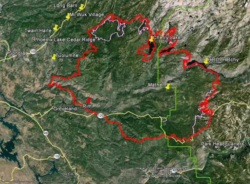 California Rim Fire At Yosemite NP Wildfire Today - Map of california near yosemite