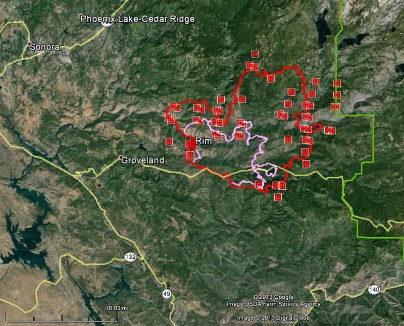 Map of Rim fire