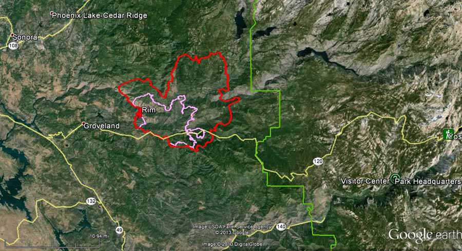 Map of Rim fire at 2 a.m.  PDT, August 22, 2013