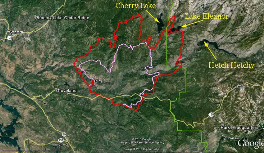 Map of Rim fire at 9 p.m.  PDT, August 22, 2013