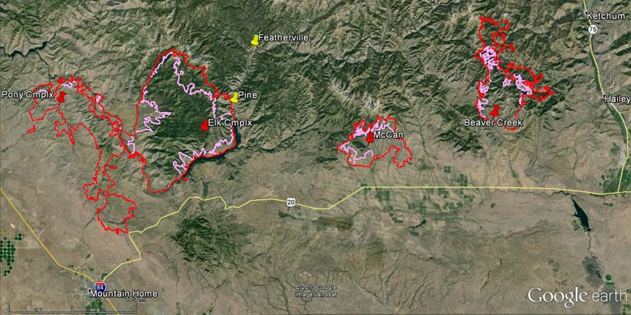 Map of fires east of Boise at 2 a.m. MDT, August 14, 2013