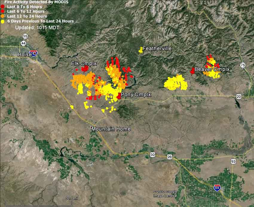 Map of fires east of Boise at 3:05 a.m. MDT, August 11, 2013