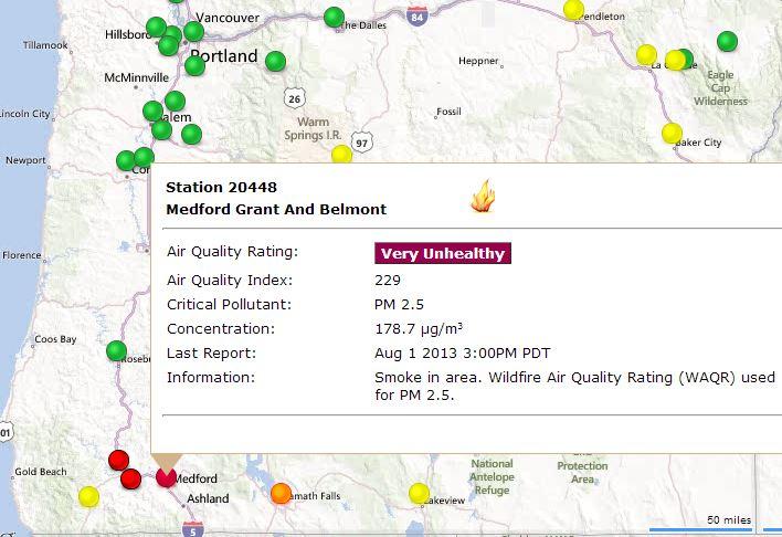 Wildfire smoke causing hazardous air quality in southwest Oregon