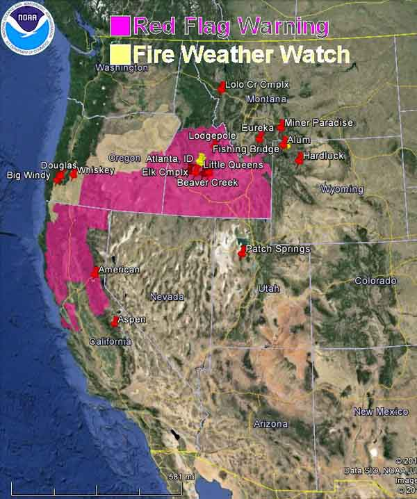 wildfire Red Flag Warnings, August 20, 2013