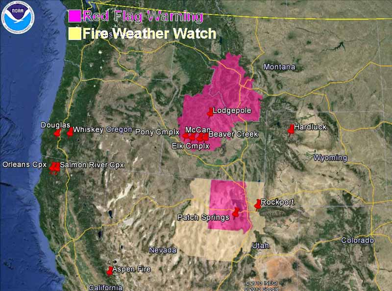 wildfire Red Flag Warnings, August 16, 2013