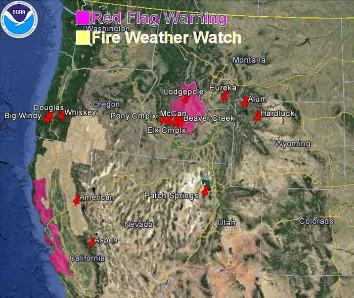 wildfire Red Flag Warnings, August 18, 2013