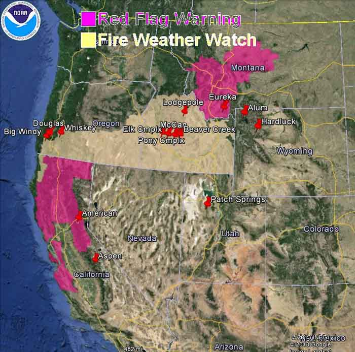 red flag warnings and smoke map august 19 2013 wildfire today