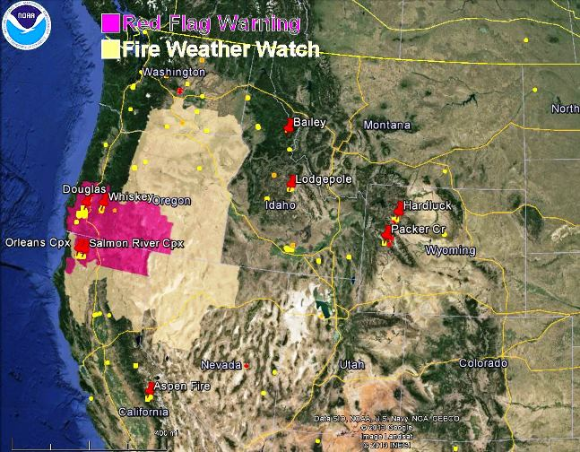 wildfire Red Flag Warnings, August 7, 2013