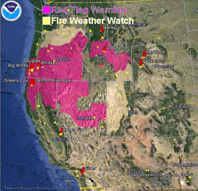 wildfire Red Flag Warnings, August 8, 2013