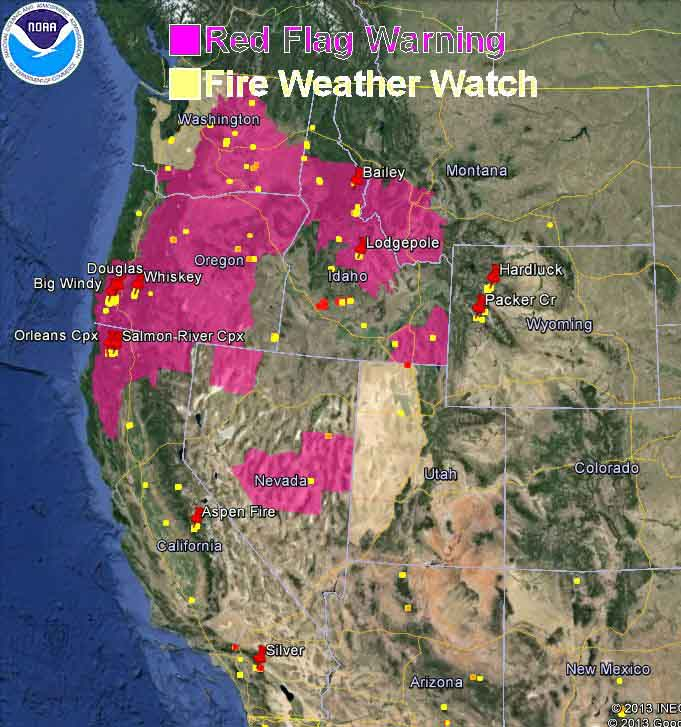 wildfire Red Flag Warnings, August 9, 2013