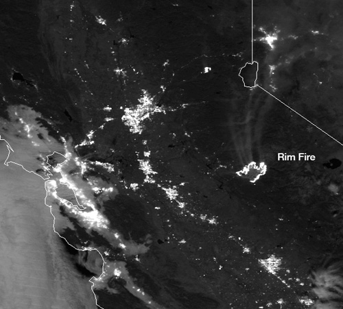 Rim Fire, August 23, 2013 as seen from Suomi NPP satellite