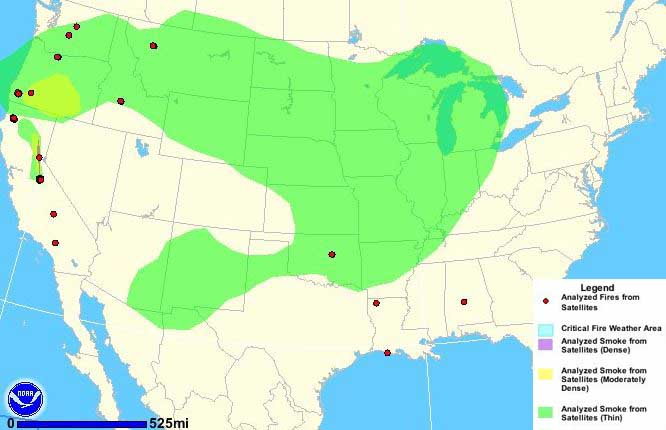 Wildfire smoke, at 9:40 a.m. MDT, August 22, 2013
