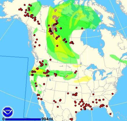 Wildfire smoke map, 9:57 p.m. MDT, August 6, 2013