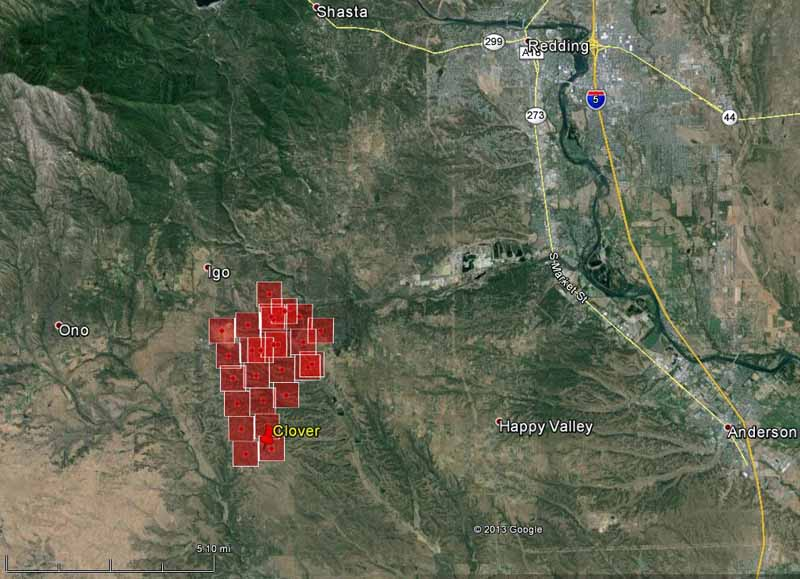 Map of Clover Fire