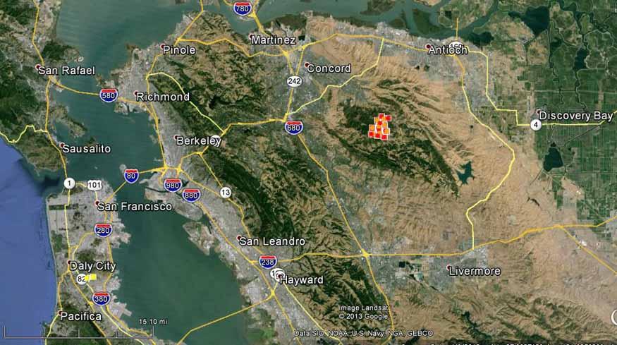 Map of Morgan Fire 3:12 a.m. PDT, September 9, 2013