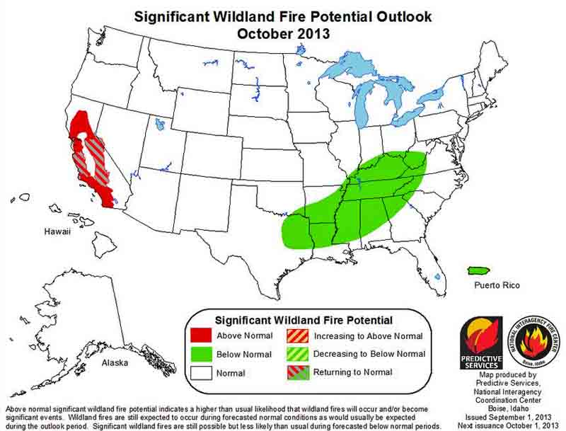 wildfire Outlook Oct 2013