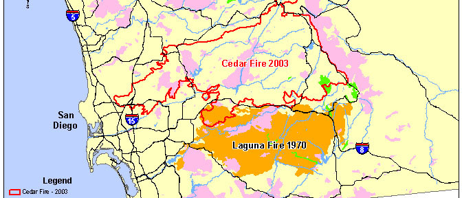 Map of Cedar and Laguna Fires