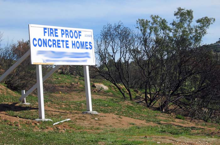 Sign in the Cedar Fire area
