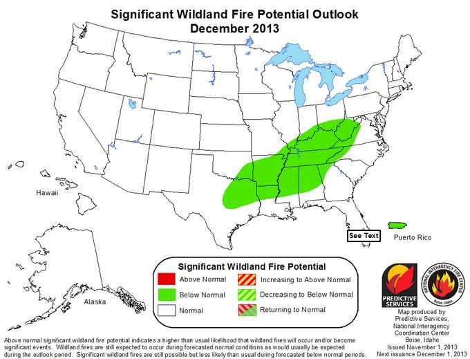 Wildfire potential December 2013
