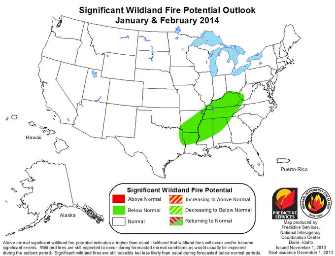 Wildfire potential Jan-Feb 2014