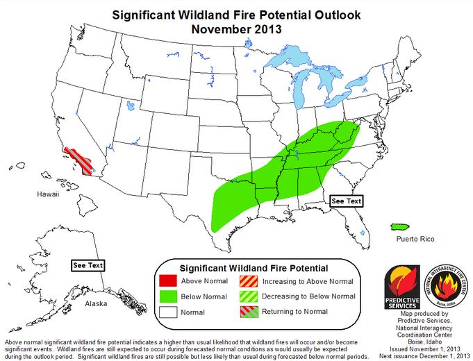 Wildfire potential November 2013