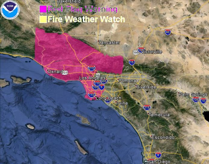 wildfire Red Flag Warning, November 4, 2013