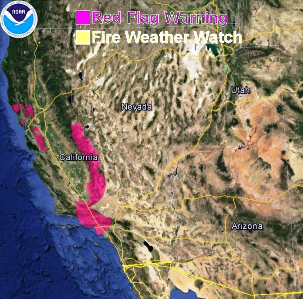 Red Flag Warnings in California, December 29