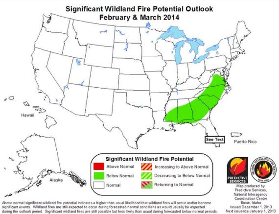 Wildfire outlook February March