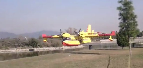 CL-415 scooping at Santa Fe dam
