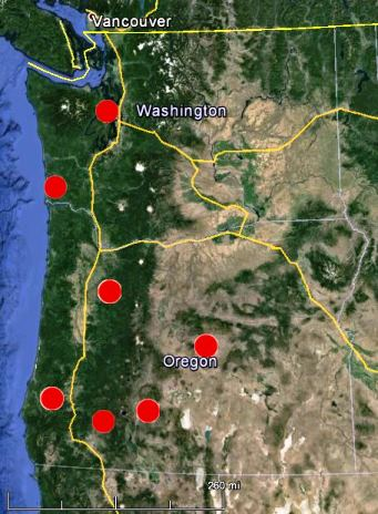 Wildfire Heat detected in Washington and Oregon by a satellite