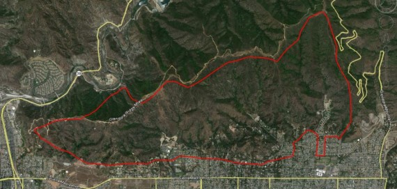 Map of Colby Fire at 5:04 p.m. PST, January 16, 2014
