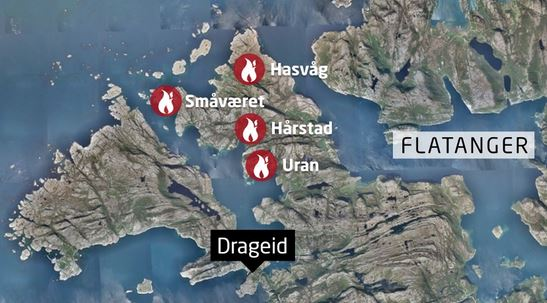 Map of Norway fires
