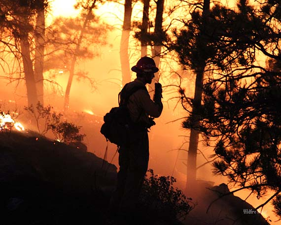 A Firefighter on the White Draw Fire in South Dakota, June 29, 2012. Photo by Bill Gabbert