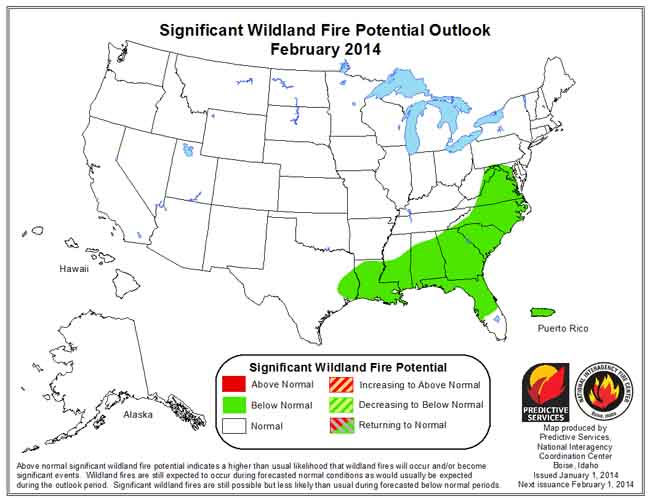Wildfire Outlook, February, 2014
