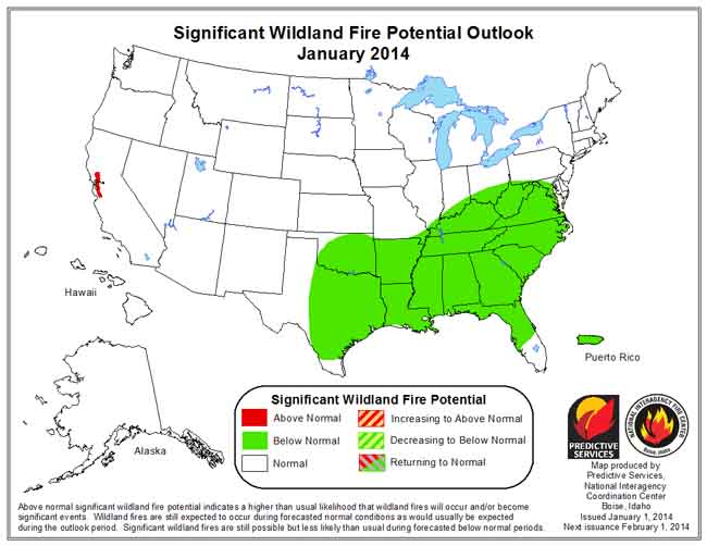 Wildfire Outlook, January, 2014