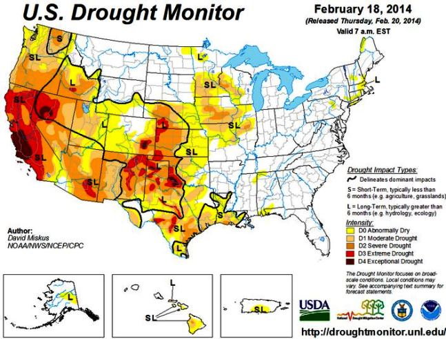 Drought monitor, February 18 - Wildfire Today