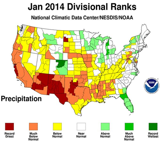 January precipitation in US