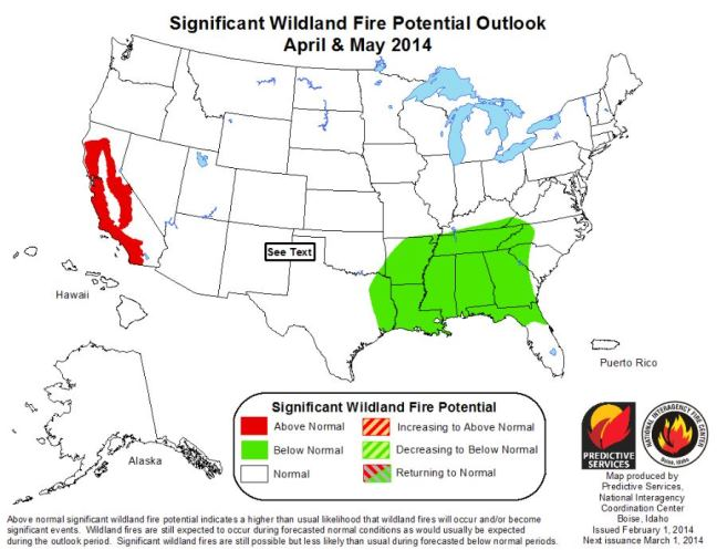 Wildfire outlook April-May 2014