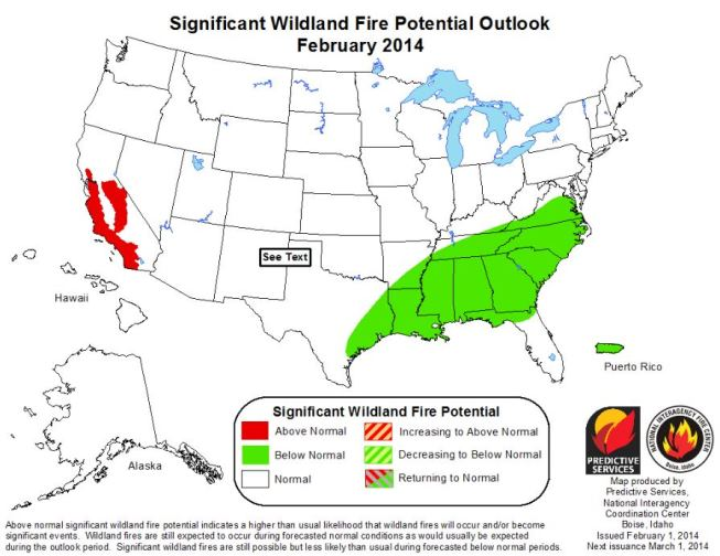 Wildfire outlook February 2014