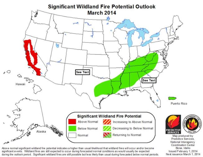 Wildfire outlook March 2014