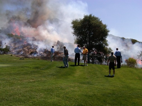 fire started by golf club