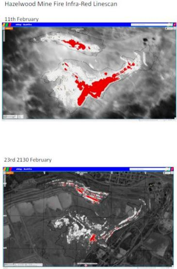 Hazlewood coal fire infrared image. CFA image.